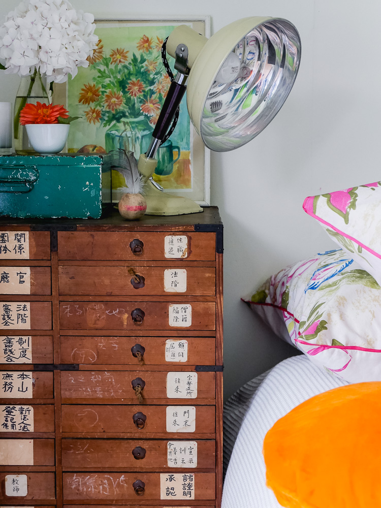 vintage drawers as bedside table