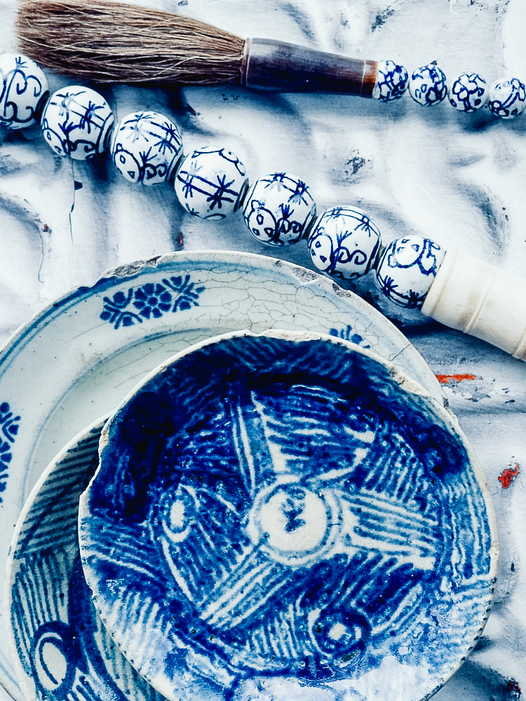 vintage blue and white china