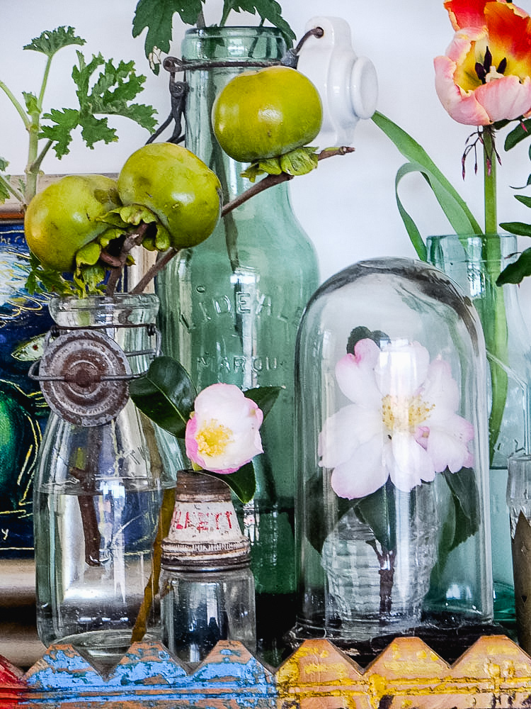 flowers and vintage bottles