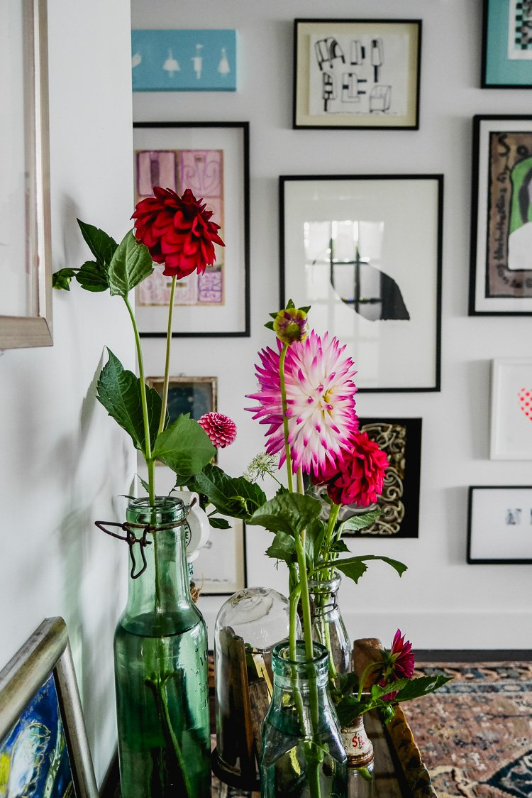 flowers and gallery wall via perfectly imperfect living