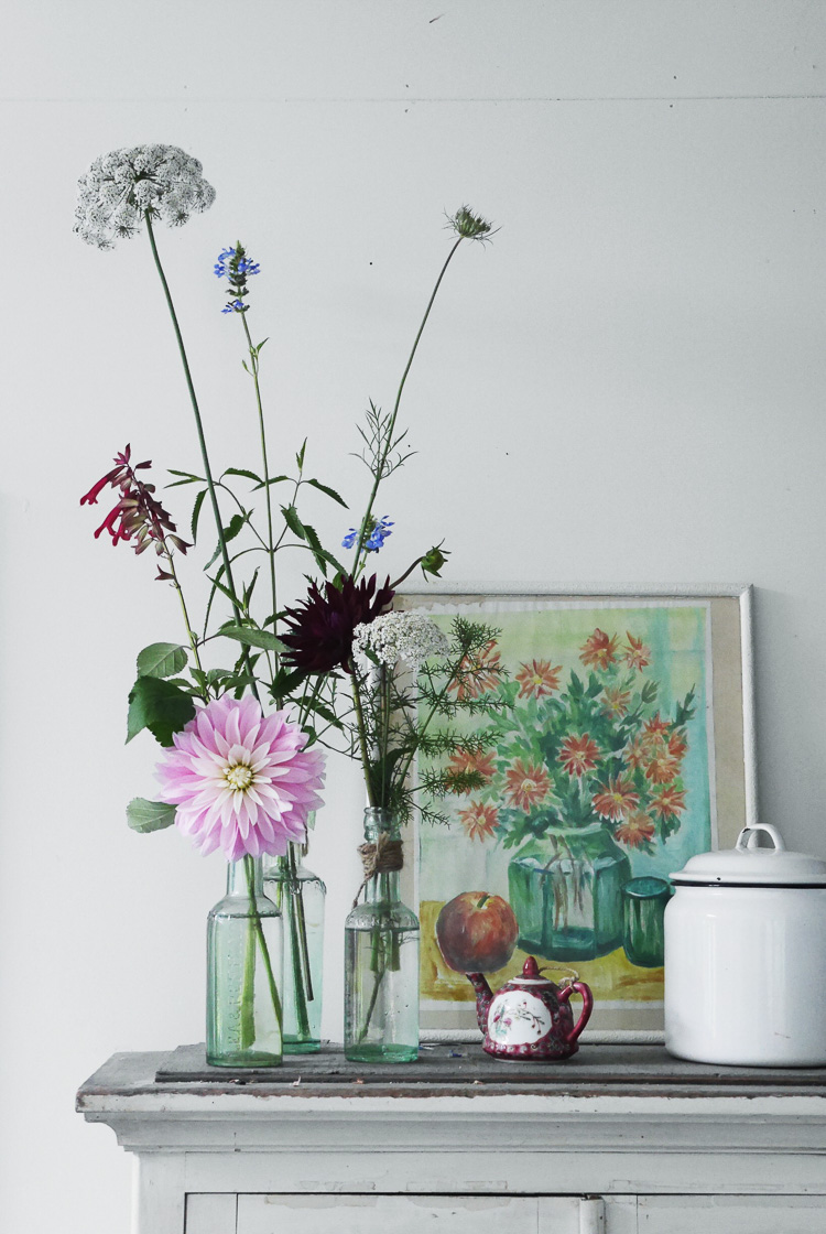 flowers and vintage collections via perfectly imperfect living