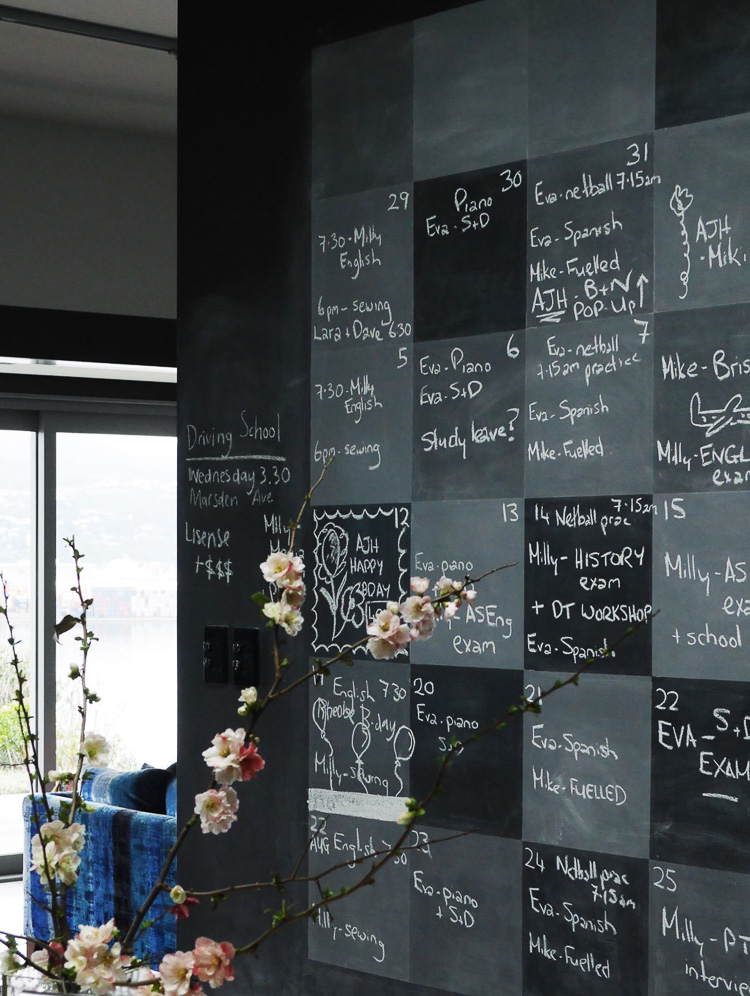 chalk board calendar wall via perfectly imperfect living