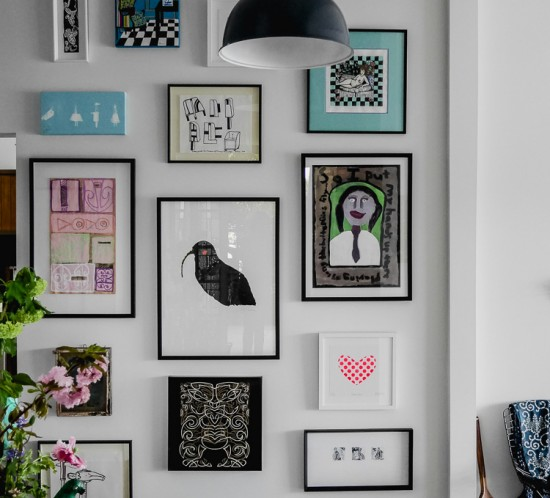 salon hang gallery art wall via perfectly imperfect living