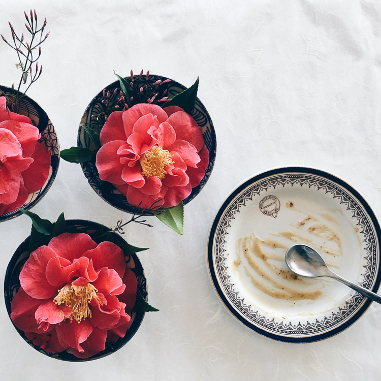 floating camellias via perfectly imperfect living