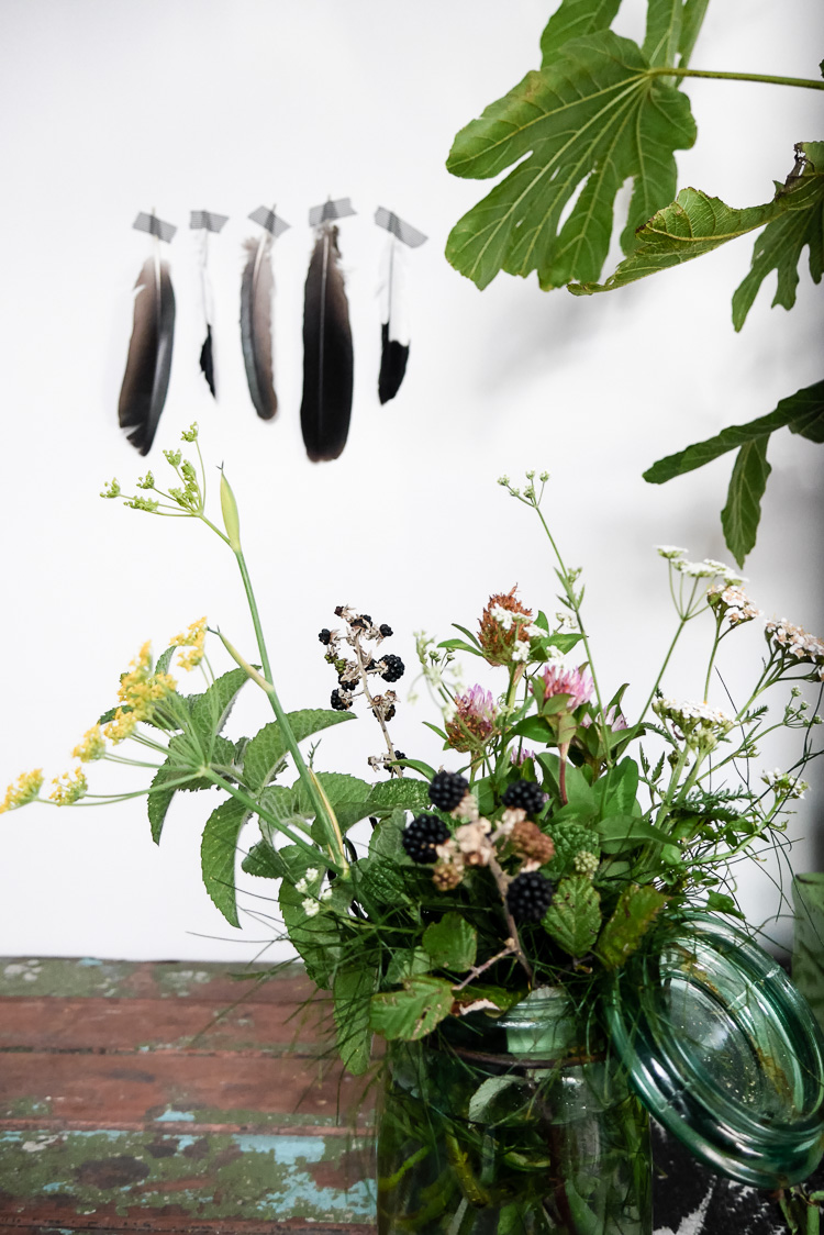 feathers and weeds via perfectly imperfect living
